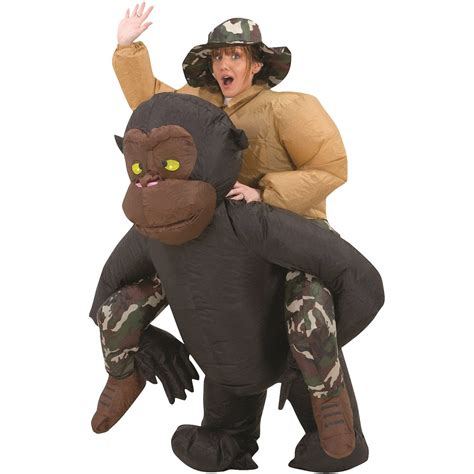 inflatable riding gorilla halloween costume  green head