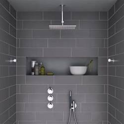 Schluter Kerdi Shower Bench Modern Shower With Dark Grey Tiles And Niche This Looks