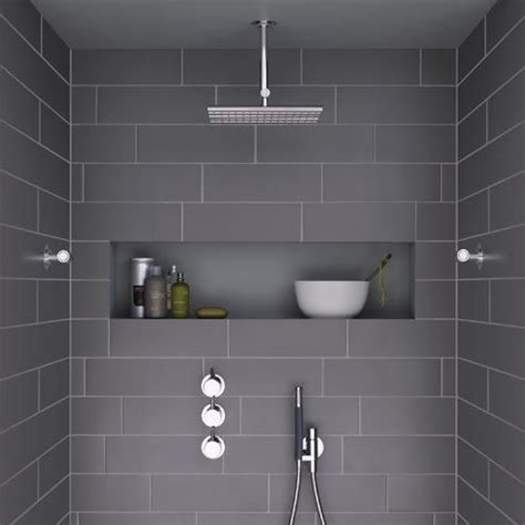 Modern Bathroom Tile Looks Modern Shower With Grey Tiles And Niche This Looks