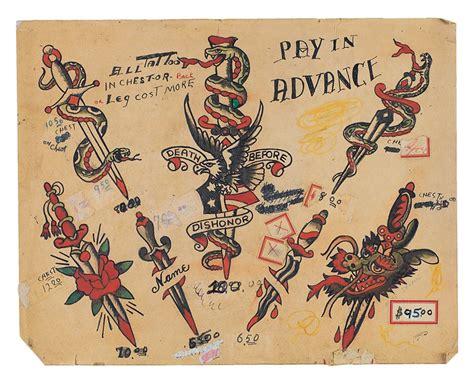 tattoo flash archive jonathan shaw vintage tattoo flash kollectors army