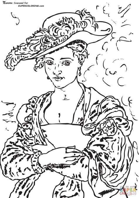 coloring page straw house the straw hat by peter paul rubens coloring online