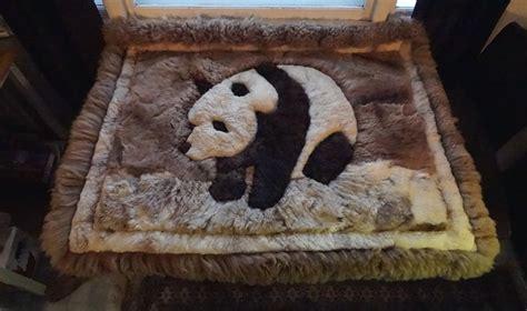 panda rug alpaca panda fur rug wall hanging 60 quot x 48 quot inch handmade in peru
