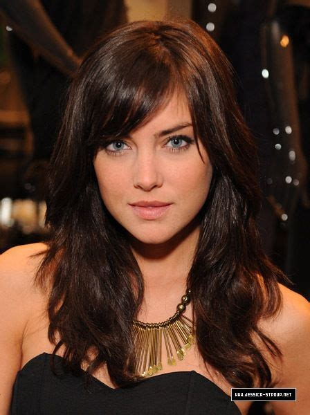 brunette hairstyles wiyh swept away bangs jessica stroup with side swept bangs and wavy medium to