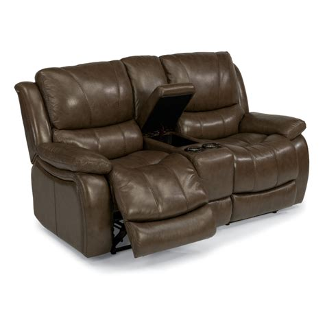 power reclining console loveseat flexsteel 1343 604p zandra leather power reclining