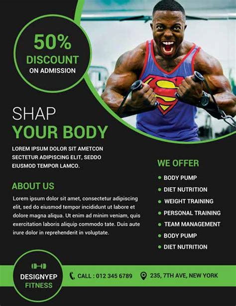 gym and fitness free flyer psd template http