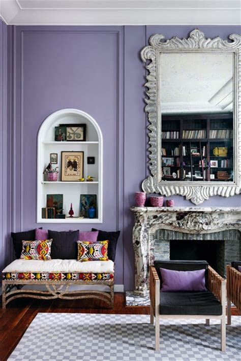 Purple Feature Wall Living Room by Purple Living Room Living Room Design Ideas