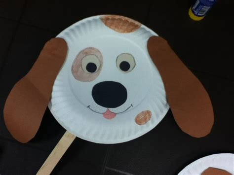 Animal Paper Crafts - paper plate craft doggie mask craft for toddlers