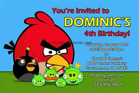 angry birds birthday invitations classic and space
