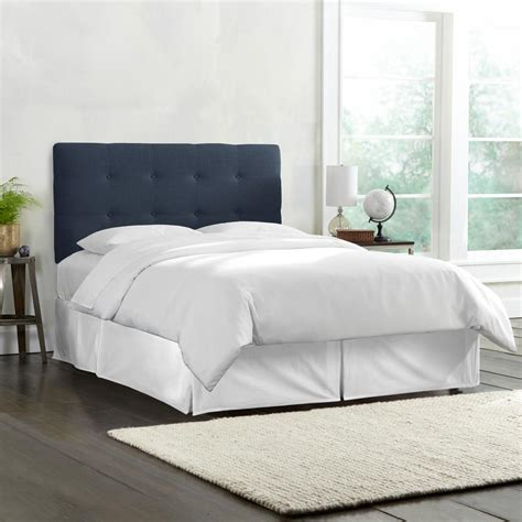 linen headboard queen skyline furniture queen tufted headboard in linen navy