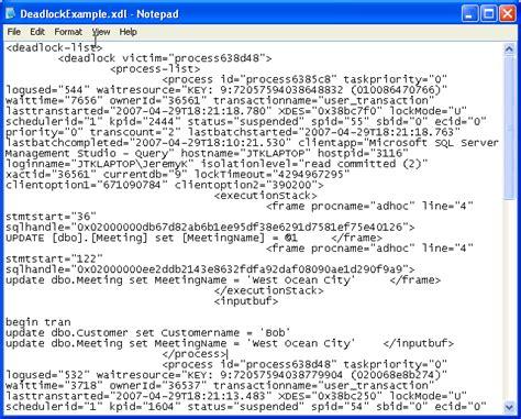 format xml capturing sql server deadlock information in xml format
