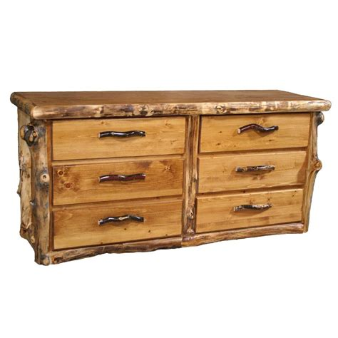 Country Dressers by Log Dresser 6 Drawer Country Western Rustic Cabin