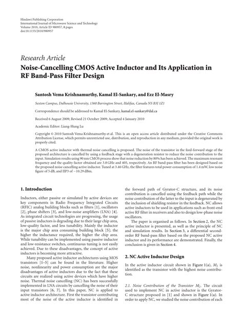 high frequency cmos active inductor design methodology and noise analysis noise cancelling cmos active inductor and its application in rf bandpass filter design pdf