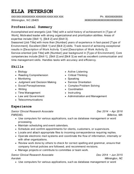 Clinical Research Resume Format