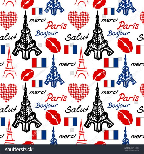 pattern french word paris seamless pattern eiffel tower lips stock vector