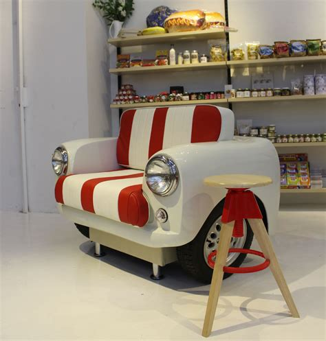 mini car sofa mini car body sofas upcycled from the classic mini cooper