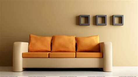 background sofa brown background and orange double shade sofa wallpaper