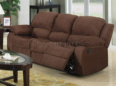Brown Microfiber Reclining Sofa by 7191 Reclining Sofa In Brown Microfiber W Options