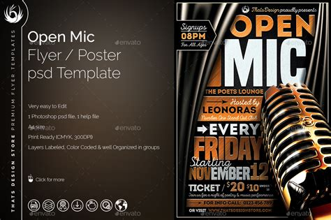 Open Mic Flyer Template By Lou606 Graphicriver Open Mic Poster Template