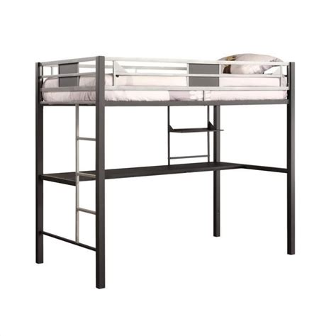 metal bunk bed with desk metal twin loft bed in black with desk 5461096