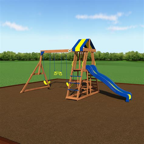 woodland swing set backyard discovery yukon iii all cedar wood swing set