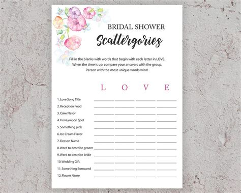 personalized bridal shower scattergories bridal shower bridal shower scattergories bridal shower games printable