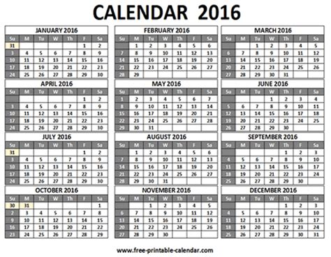 printable calendar 2016 each month 12 month calendar 2016 printable on one page calendar