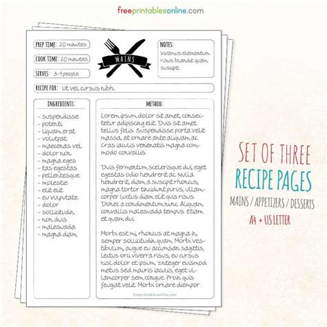 recipe templates for pages free vintage branded recipe pages a4 free printables online