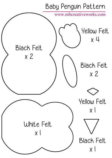 felt shape templates penguins felt and felt baby on
