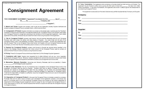 free consignment agreement template doc 585610 10 consignment agreement templates free