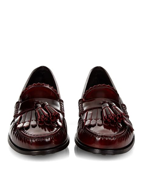 tods tassel loafer tod s cuoio tassel patent leather loafers in brown lyst
