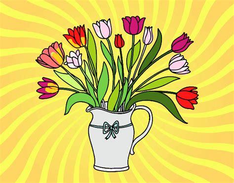 vaso per tulipani disegno vaso di tulipani colorato da utente non registrato