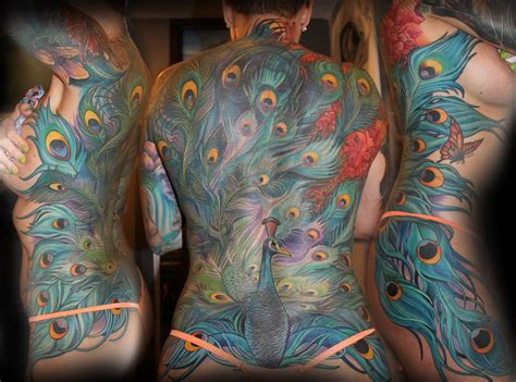peacock back tattoo peacock back by tony adamson tattoos