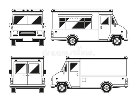 Blank Commercial Food Truck In Different Points Of View Outline Vector Template For You Blank Food Truck Template