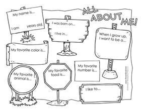 all about me worksheet tim s printables