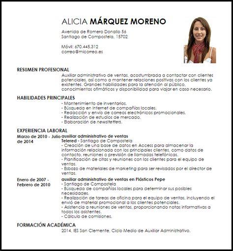 Modelo Curriculum Asistente Administrativo modelo curriculum vitae auxiliar administrativo de ventas