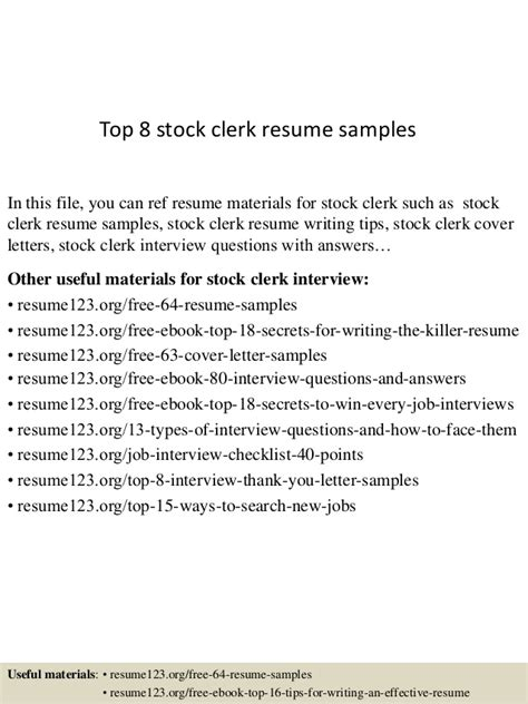 Stock Clerk Resume by Top 8 Stock Clerk Resume Sles