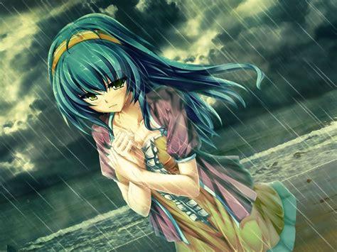 imagenes anime tristes hd anime triste en el papel pintado de lluvia fondos de