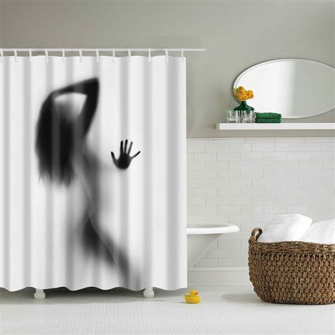 Portrait Decor Bathroom Shower Curtains Woman Shadow Custom Bathroom Shower Curtains