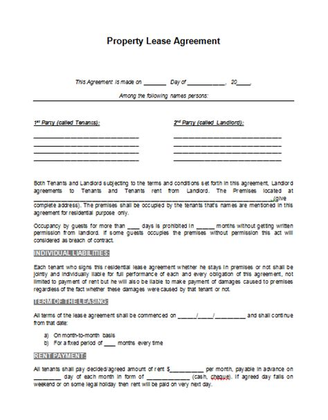printable sle rental lease agreement template form