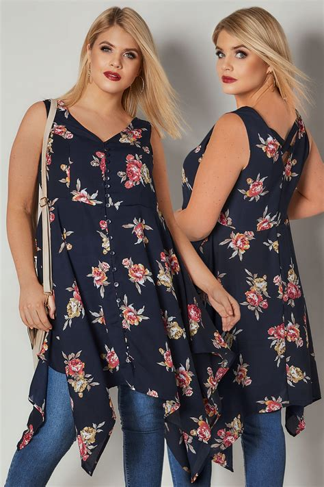 41810 Flowers Dress navy multi floral print sleeveless top with cross back hanky hem plus size 16 to 32