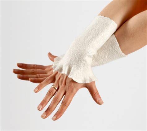 Handmade Wrist - felted wrist warmers wedding arm warmers bridal gloves