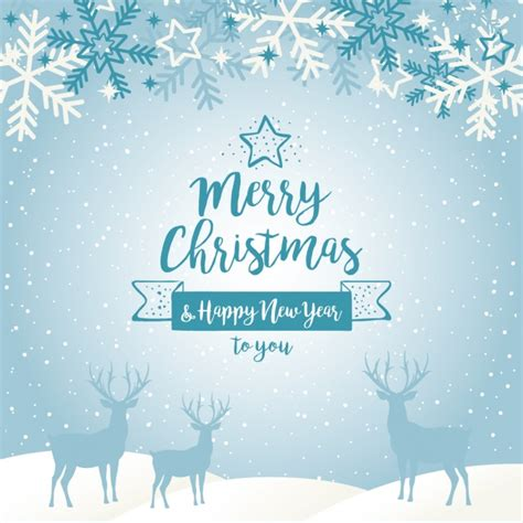 blue christmas service clipart blue background with silhouettes of reindeers and snowflakes vector free