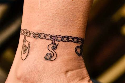 ankle tattoo bracelet designs ankle charm bracelet tattoos