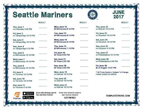 printable 2017 seattle mariners schedule