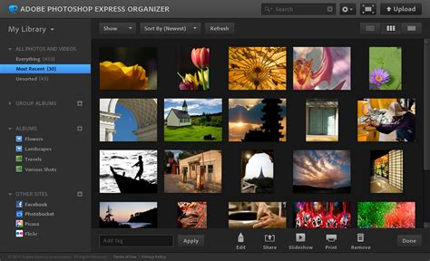 organize media photoshop express online tools and my gallery photoshop