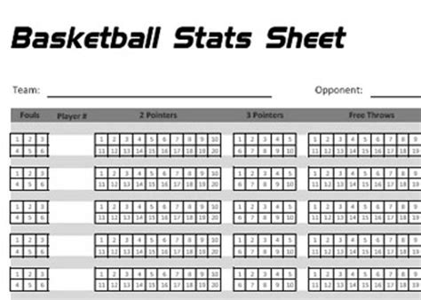 basketball statistics sheet new calendar template site