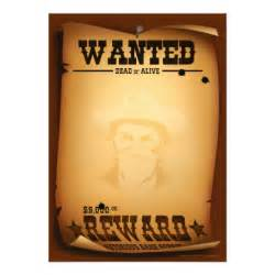 Wanted Poster Invitation Template by Western Invitations Wanted Poster Stationery 5 Quot X 7