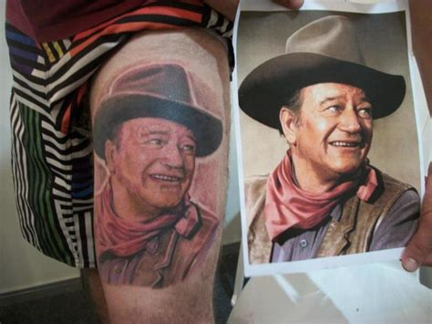 john wayne tattoos shoulder realistic wayne by hell