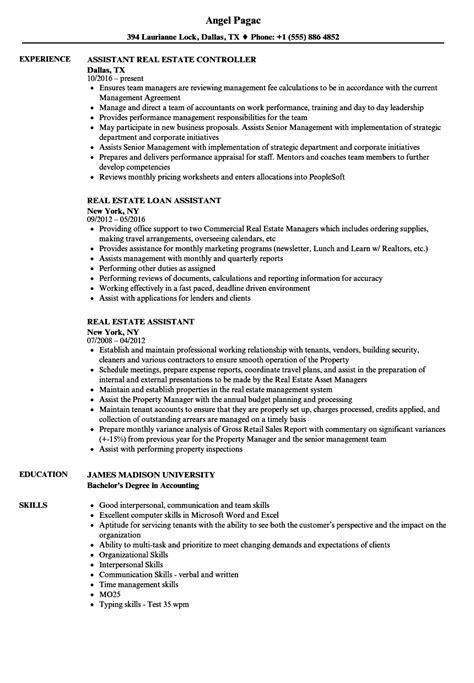 Real Estate Assistant Resume by Real Estate Assistant Resume Sles Velvet