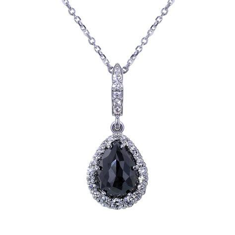Tear Drop Black Diamond Necklace   Jewelry Designs